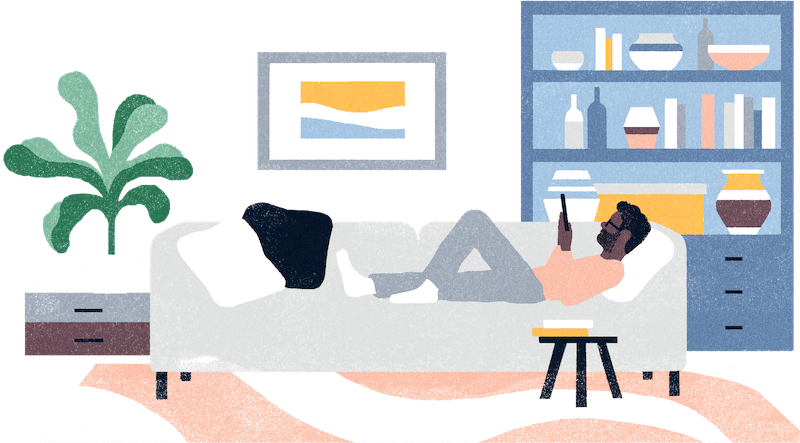 Illustration of man relaxing at home